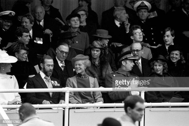 Members of the royal family at the unveiling of a statue of Earl Mountbatten of Burma in London Left to right front row Princess Michael of Kent...