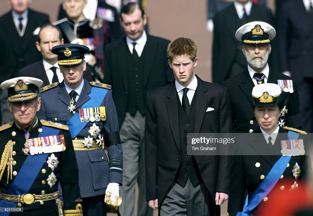 Members Of The Royal Family Follow The Coffin Of The Queen Mother On The Mall As It Is Taken To Westminster Hall Where It Will Lie In State Including...