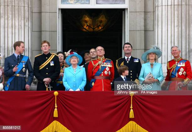 Members of the royal family including from left to right Prince William Prince Harry The Princess Royal Queen Elizabeth II Princess Michael of Kent...