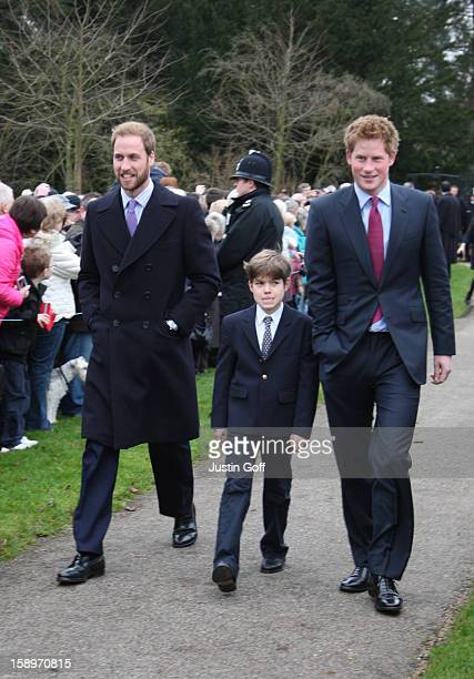 Members Of The Royal Family Inclusing Prince William Arthur Chatto And Prince Harry Attend The Morning Service On Christmas Day At Sandringham Church