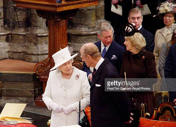 Members of the Royal Family join Queen Elizabeth II and Prince Philip Duke of Edinburgh for a service of thanksgiving to celebrate their Diamond...