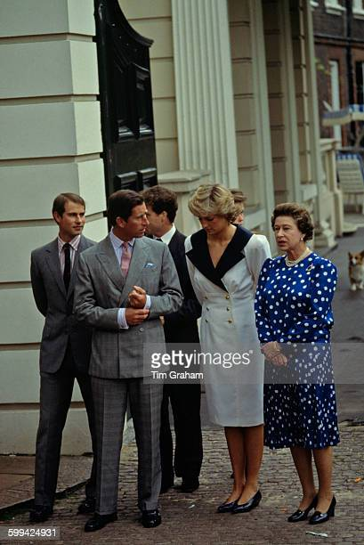 Members of the royal family outside Clarence House during the celebrations of the Queen Mother's 87th birthday London 4th August 1987 Left to right...