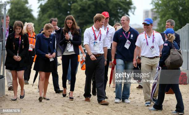 Members of the Royal family Princess Eugenie Princess Beatrice The Duchess of Cambridge Prince Harry The Duke of Cambridge Mike Tindall Peter and...