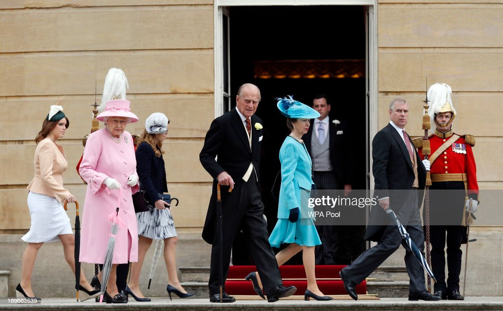 Members of the Royal Family (L-R) <a gi-track='captionPersonalityLinkClicked' href=/galleries/search?phrase=Princess+Eugenie&family=editorial&specificpeople=160237 ng-click='$event.stopPropagation()'>Princess Eugenie</a>, Queen <a gi-track='captionPersonalityLinkClicked' href=/galleries/search?phrase=Elizabeth+II&family=editorial&specificpeople=67226 ng-click='$event.stopPropagation()'>Elizabeth II</a>, Princess Beatrice, <a gi-track='captionPersonalityLinkClicked' href=/galleries/search?phrase=Prince+Philip&family=editorial&specificpeople=92394 ng-click='$event.stopPropagation()'>Prince Philip</a>, Duke of Edinburgh, Princess Anne, Princess Royal, and <a gi-track='captionPersonalityLinkClicked' href=/galleries/search?phrase=Prince+Andrew+-+Duke+of+York&family=editorial&specificpeople=160175 ng-click='$event.stopPropagation()'>Prince Andrew</a>, Duke of York arrive to attend a garden party held at Buckingham Palace, on May 30, 2013 in London, England.