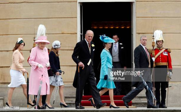 Members of the Royal Family Princess Eugenie Queen Elizabeth II Princess Beatrice Prince Philip Duke of Edinburgh Princess Anne Princess Royal and...