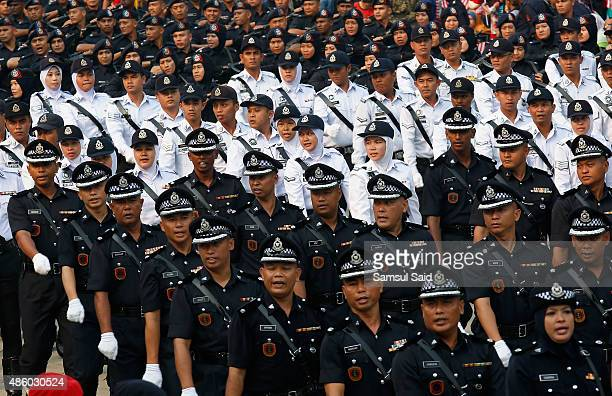 Members of the Royal Malaysia Police march during the celebrations of 58th National Day at Merdeka Square on August 31 2015 in Kuala Lumpur Malaysia...