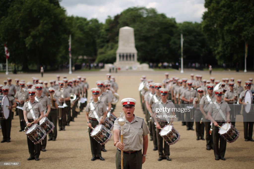 Members of the Royal Marines rehearse for the ceremonial 'Beating Retreat' event on Horse Guards Parade on June 2, 2014 in London, England. The event is part of the celebration marking the Royal Marines' 350th anniversary and this year will be the largest ever with a 490 strong parade made up of a Royal Guard from 42 Commando Royal Marines and all five Royal Marines Massed Bands, along with their colleagues from the Royal Marines Band Service Corps of Drums and Fanfare team. In addition there will be 45 ranks from the 2nd Marine Division Band, United States Marine Corps and 60 ranks from the Royal Netherland Marine Corps Band.