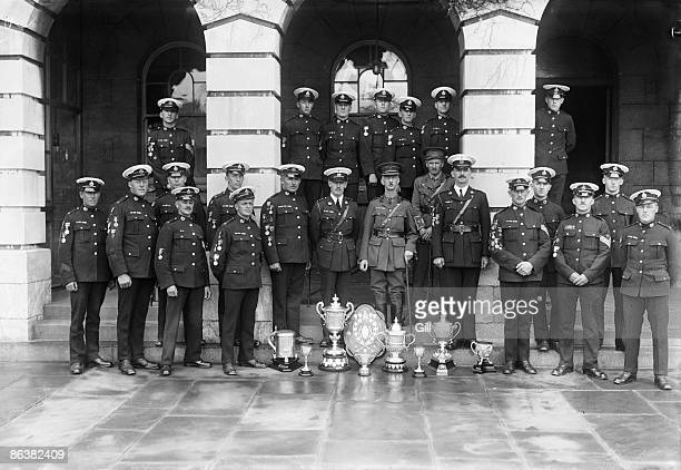 Members of the Royal Marines with their trophies after a shooting competition Plymouth July 1924