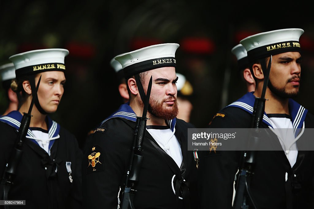 Members of the Royal New Zealand Navy arrive to welcome Indian President Shri Pranab Mukherjee during a ceremony of welcome at Government House on April 30, 2016 in Auckland, New Zealand. It is the first time an Indian President has visited New Zealand.