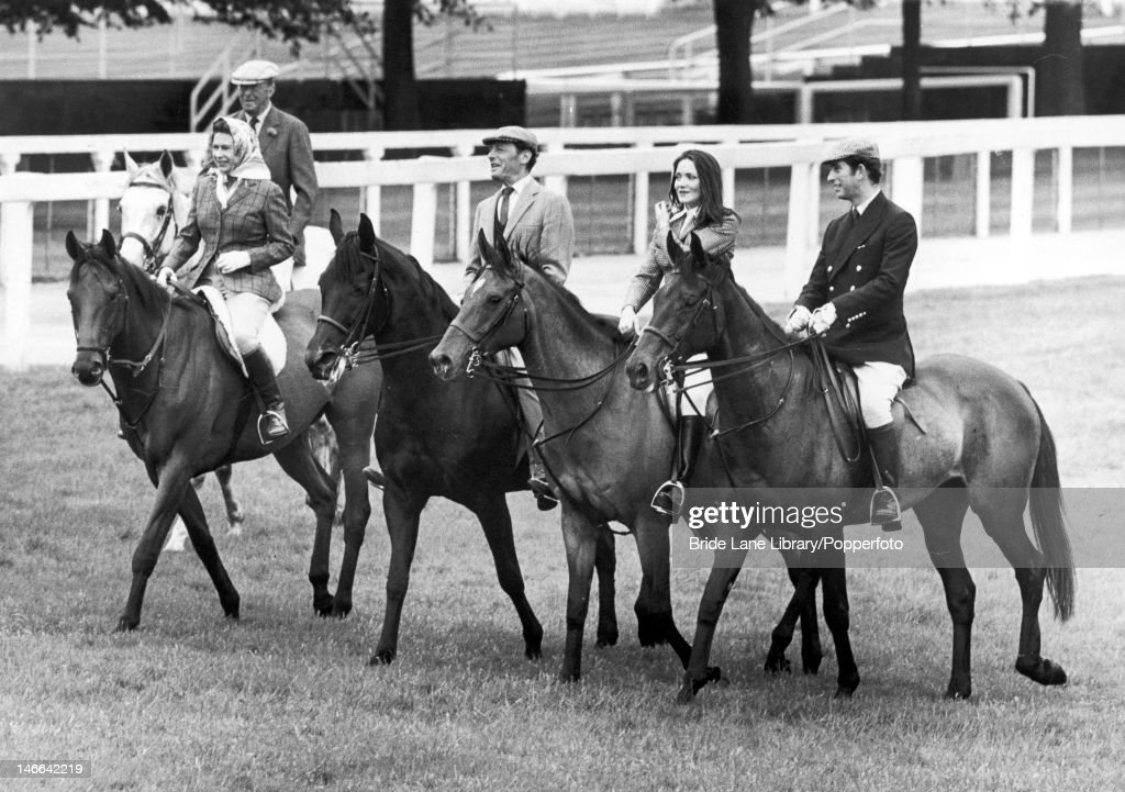 Members of the royal party ride around the racecourse at Ascot, prior to the Gold Cup day race, 19th June 1975. From left to right, the 10th Duke of Beaufort, Queen <a gi-track='captionPersonalityLinkClicked' href=/galleries/search?phrase=Elizabeth+II&family=editorial&specificpeople=67226 ng-click='$event.stopPropagation()'>Elizabeth II</a>, <a gi-track='captionPersonalityLinkClicked' href=/galleries/search?phrase=Angus+Ogilvy&family=editorial&specificpeople=160704 ng-click='$event.stopPropagation()'>Angus Ogilvy</a>, Lady Leonora Lichfield and <a gi-track='captionPersonalityLinkClicked' href=/galleries/search?phrase=Prince+Charles&family=editorial&specificpeople=160180 ng-click='$event.stopPropagation()'>Prince Charles</a>.