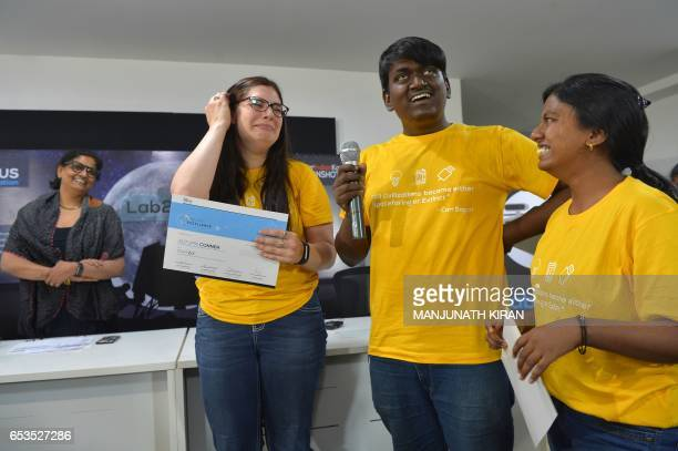 Members of the runners up team 'ZI' from India share their experience with other contestants in the 'Lab2Moon' competition organised by the TeamIndus...
