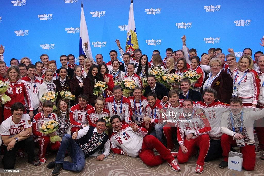 Members of the Russian Olympic team pose for a photo during an awards ceremony for Russian Olympic athletes on February 24, 2014 in Sochi, Russia. Russian President Vladimir Putin presented awards to members of the Russian Olympic team a day after the closing ceremony of the 2014 Winter Olympics, in which Russia topped the medals table with 13 gold, 11 silver and 9 bronze medals.