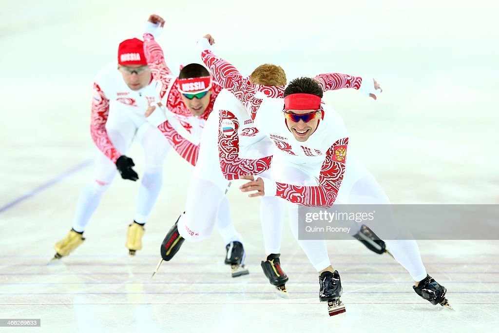 Members of the Russian Speed Skating team skate during a training session prior to the Sochi 2014 Winter Olympics at Adler Arena on February 1 2014...