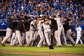 Members of the San Francisco Giants celebrate defeating the Kansas City Royals in Game 7 of the 2014 World Series on Wednesday October 29 2014 at...