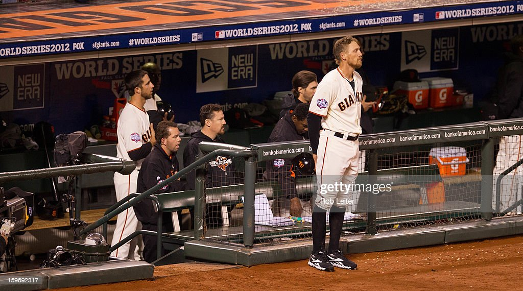 Members of the San Francisco Giants stand for the seventh inning stretch during Game 2 of the 2012 World Series against the Detroit Tigers on Thursday, October 25, 2012 at AT&T Park in San Francisco, California.