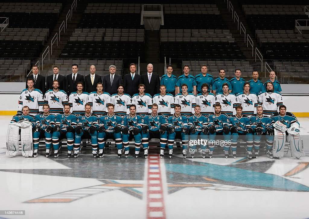 Members of the San Jose Sharks pose for the official 2011-12 team photograph at HP Pavilion on March 2, 2012 in San Jose, California.