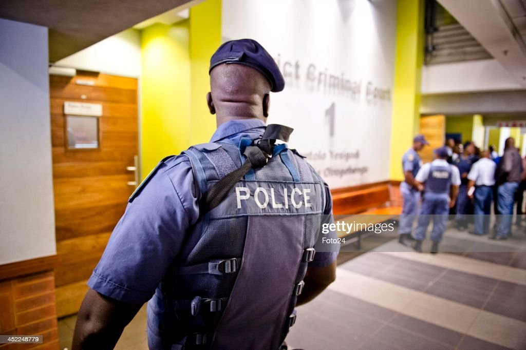 Members of the SAPD at the Palm Ridge Magistrate's court on November 25, 2013, in Johannesburg, South Africa. Radovan Krejcir was arrested on November 22, 2013 on charges of kidnapping and attempted murder. Krejcir was allegedly assaulted during his arrest and had to be moved to a medical facility to receive treatment. The court was cleared out to omit the possibility of an attempted assassination.