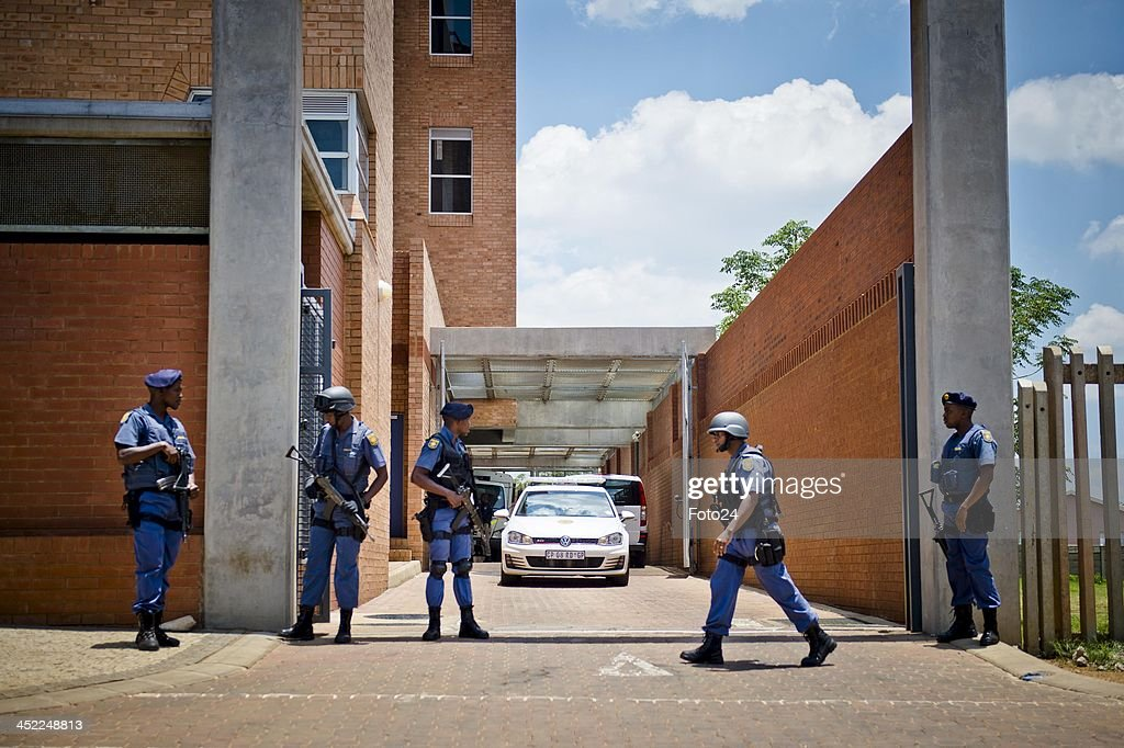 Members of the SAPD outside the Palm Ridge Magistrate's court on November 25, 2013, in Johannesburg, South Africa. Radovan Krejcir was arrested on November 22, 2013 on charges of kidnapping and attempted murder. Krejcir was allegedly assaulted during his arrest and had to be moved to a medical facility to receive treatment. The court was cleared out to omit the possibility of an attempted assassination.