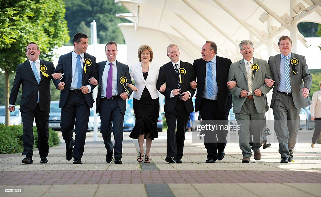 Members of the Scottish National Party Stewart Hosie MP Angus McNeil MP Pete Wishart MP Nicola Sturgeon MSP victorious candidate at Glasgow East John...