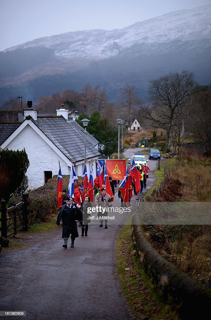 Members of the Scottish Republican Socialist Movement hold their annual Glencoe commemoration rally on February 10, 2013 in Glencoe, Scotland. The rally marks the anniversary of the Massacre of Glencoe when on the 13th of February 1692 members of the MacDonald clan were murdered in their home by soldiers under the charge of Archibald Campbell, 10th earl of Argyll.