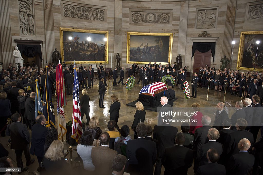 DECEMBER 20 -- Members of the Senate file past Senator Daniel Inouye's casket at the Capitol Rotunda on Capitol Hill in Washington, D.C., on Thursday, December 20, 2012.