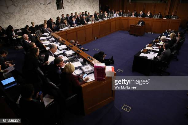 Members of the Senate Finance Committee participate in a markup of the Republican tax reform proposal on November 15 2017 in Washington DC...