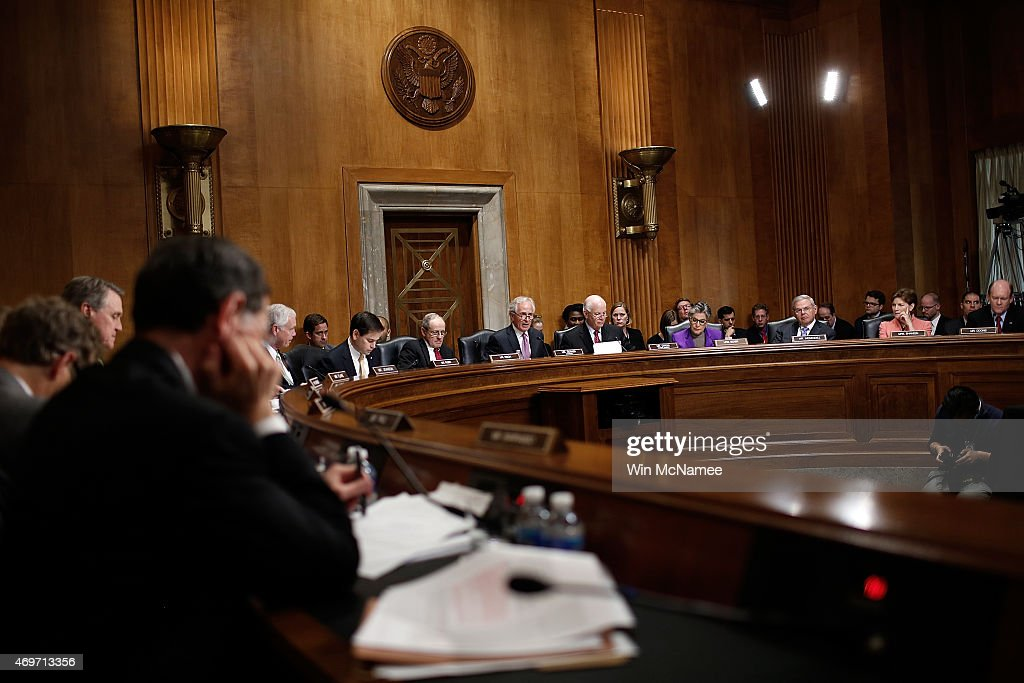 Members of the Senate Foreign Relations Committee make opening remarks during a markup meeting on the proposed nuclear deal with Iran April 14 2015...