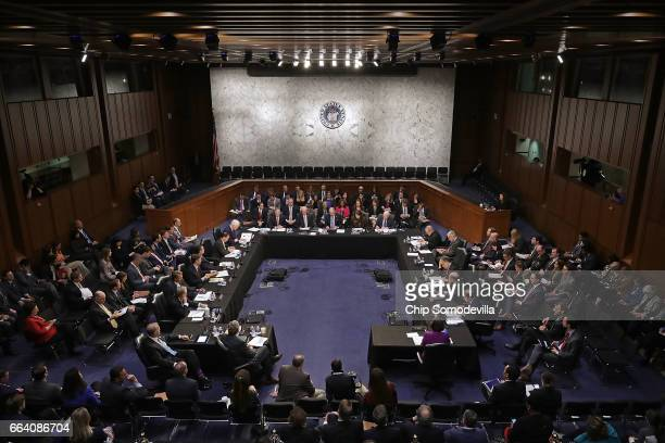 Members of the Senate Judiciary Committee hold an executive business meeting to debate and vote on Supreme Court nominee Judge Neil Gorsuch's...