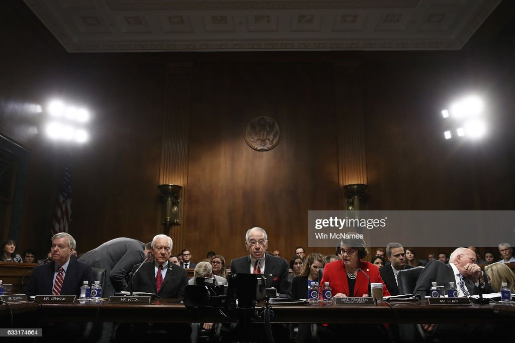 Members of the Senate Judiciary Committee particpate in the committee's 'markup' on the nomination of Sen. Jeff Sessions to be the next Attorney General of the U.S. January 31, 2017 in Washington, DC. The nomination of Sessions to be the next Attorney General has been complicated by the recent firing of Acting Attorney General Sally Yates by U.S. President Donald Trump. From left to right are Sen. Lindsey Graham (R-SC), Sen. Orrin Hatch (R-UT), Sen. Chuck Grassley (R-IA), Sen. Dianne Feinstein (D-CA) and Sen. Patrick Leahy (D-VT).