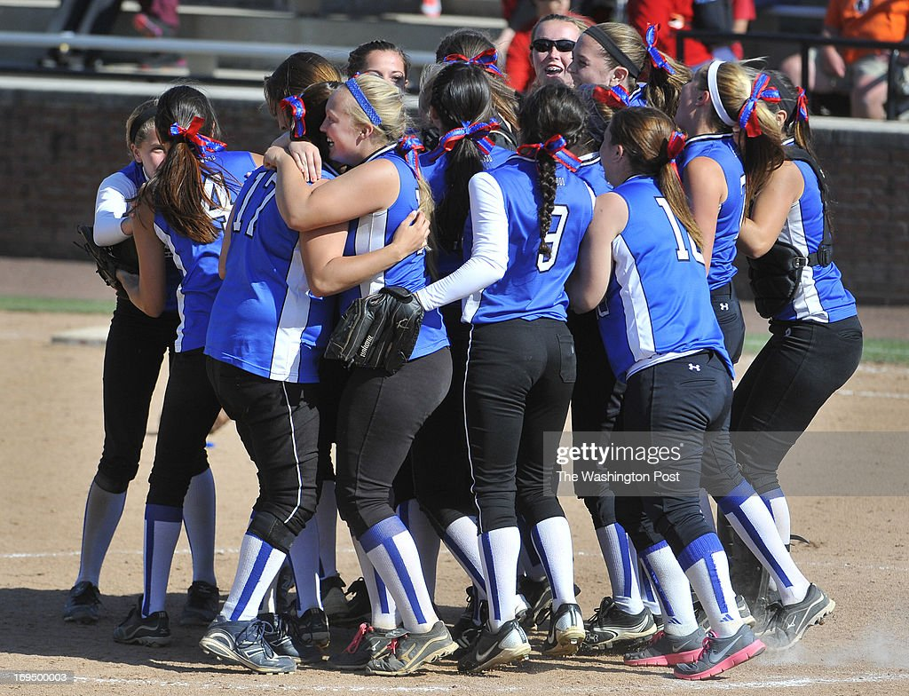 Members of the Sherwood team celebrated the victory over Glen Burnie in the Maryland 4A softball championship game at the University of Maryland's Robert E. Taylor Stadium on May, 25, 2013 in College Park, Md.