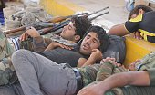 Members of the Shia Hashdi Shabi forces sleep before attacking Falluja in AlAnbar Province with heavy weapons in order to liberate it from Daesh on...