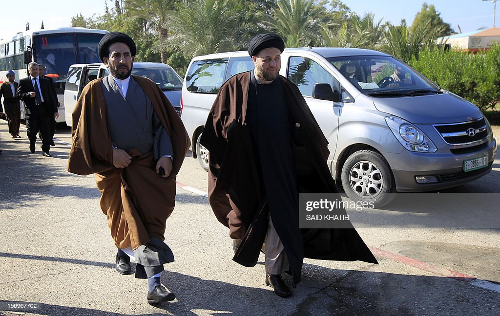 Members of the Shiite community in Iraq's parliament are pictured upon their arrival in the southern Gaza Strip town of Rafah on November 26, 2012.