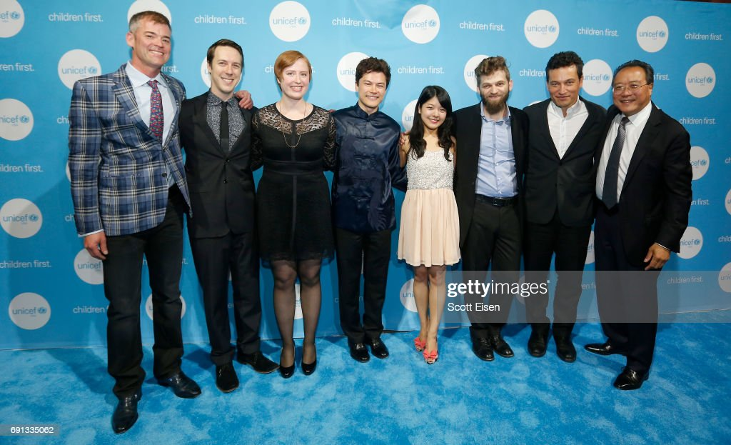 Members of the Silk Road Ensemble pose for a photo with Honoree, Children's Champion Award UN Messenger of Peace Cellist Yo-Yo Ma during UNICEF Children's Champion Award Dinner honoring Yo-Yo Ma and Alli and Bill Achtmeyer at The Castle at Park Plaza on June 1, 2017 in Boston, Massachusetts.