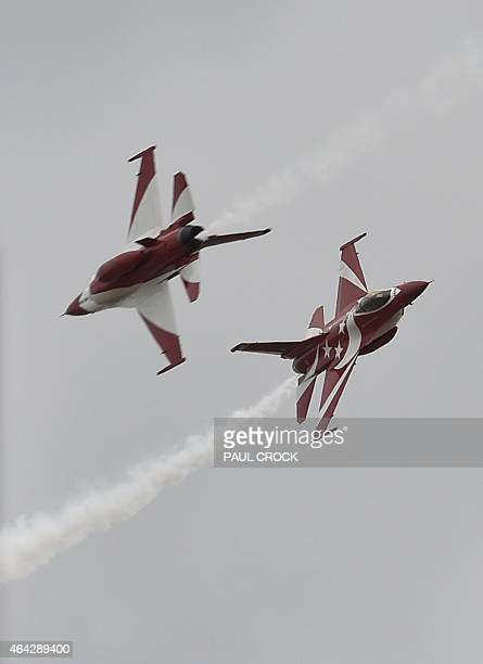 Members of the Singapore Air Force F16 Black Knights perform at the Australian International Airshow at the Avalon Airfield in the city of Lara...