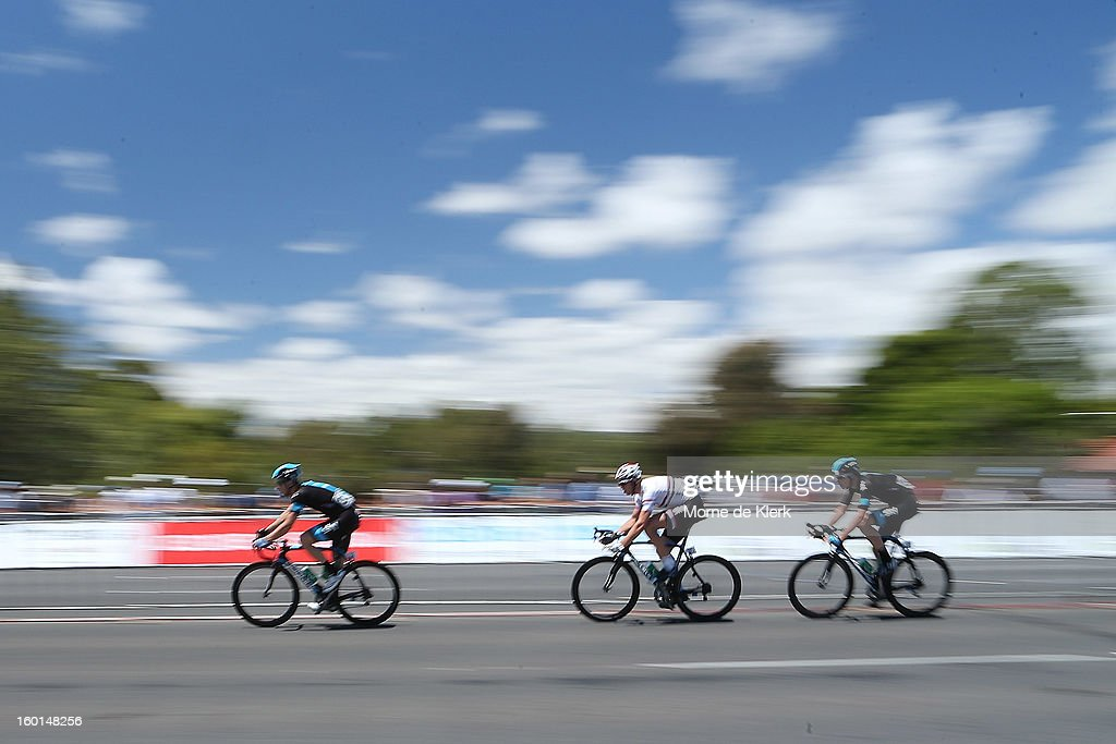 Members of the Sky Procycling team ride during stage six of the Tour Down Under on January 27, 2013 in Adelaide, Australia.