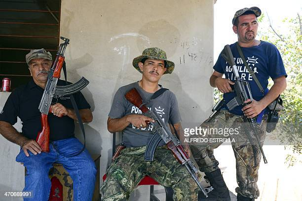 Members of the socalled selfdefense groups pose for a picture at La Nopalera community Michoacan state Mexico on February 15 2014 Next February 24...