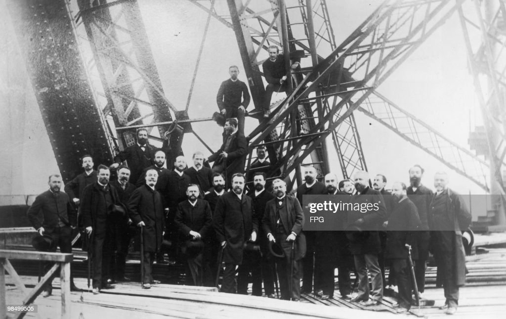 Members of the Societe Centrale des Architects on the first floor of the Eiffel Tower during its construction, Paris, 16th June 1888.The architects are inspecting the structure in the company of the tower's designer <a gi-track='captionPersonalityLinkClicked' href=/galleries/search?phrase=Gustave+Eiffel&family=editorial&specificpeople=137072 ng-click='$event.stopPropagation()'>Gustave Eiffel</a> (1832 - 1923, standing, centre, right).