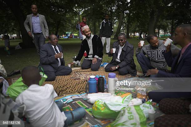 Members of the Somali community share tea as they picnic and celebrate the festival of Eid in Small Heath Park on July 6 2016 in Birmingham England...