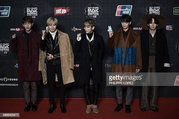 Members of the South Korean KPop music band SHINee pose on the red carpet of the 2015 Mnet Asian Music Awards the leading Kpop awards ceremony in...