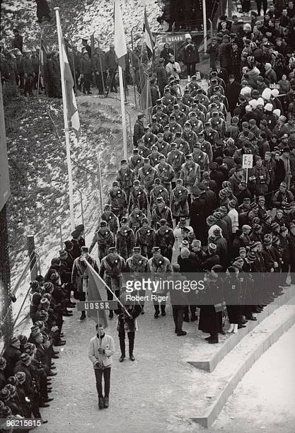 Members of the Soviet Union participate in the Opening Ceremony of the 1964 Winter Olympics on January 29 1964 in Innsbruck Austria