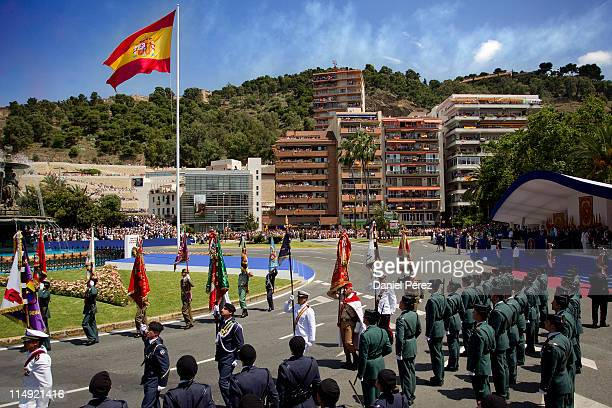 Members of the Spain's army performs during Armed forces day on May 29 2011 in Malaga Spain