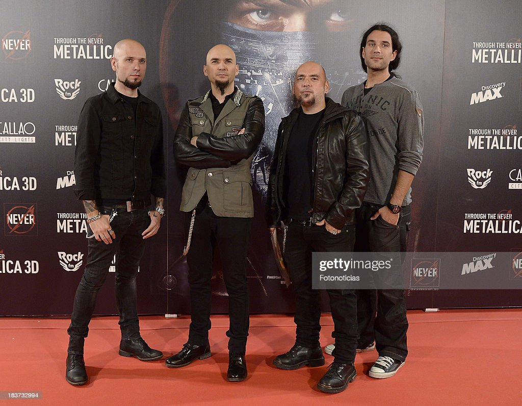 Members of the Spanish band Sober attend the premiere of 'Metallica: Through The Never' at Callao cinema on October 9, 2013 in Madrid, Spain.