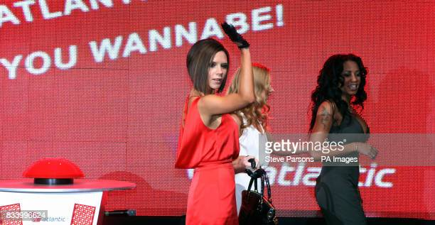 Members of the Spice Girls Victoria Geri Mel B during the opening of Virgin Atlantic's New Terminal at Heathrow Airport