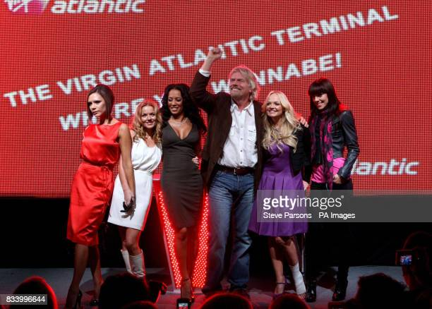 Members of the Spice Girls Victoria Geri Mel B Emma Bunton amp Mel C open Virgin Atlantic's New Terminal at Heathrow Airport with Sir Richard Branson