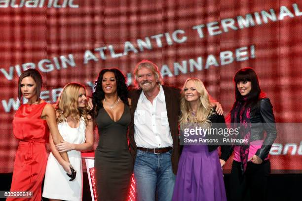 Members of the Spice Girls Victoria Geri Mel B Emma Bunton Mel C open Virgin Atlantic's New Terminal at Heathrow Airport with Sir Richard Branson