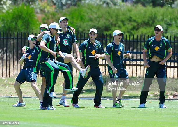 Members of the squad during an Australia Test Team practice session at Park 25 Cricket Ground on December 5 2014 in Adelaide Australia