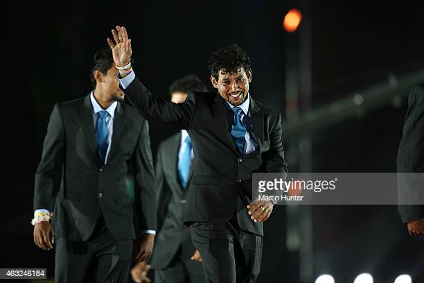 Members of the Sri Lanka team arrive on stage during the Opening Ceremony ahead of the ICC 2015 Cricket World Cup at Hagley Park on February 12 2015...