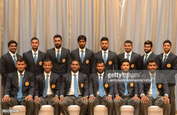 Members of the Sri Lankan cricket team pose for a group photograph Suranga Lakmal Nuwan Kulasekara captain Angelo Mathews Upul Tharanga Dinesh...