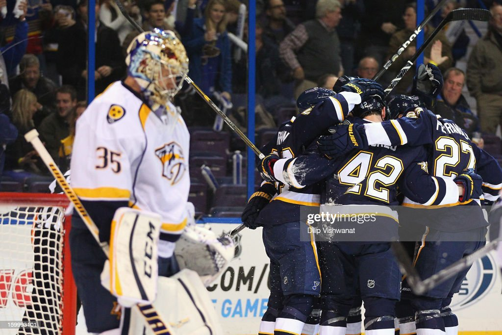 Members of the St. Louis Blues celebrate a goal against <a gi-track='captionPersonalityLinkClicked' href=/galleries/search?phrase=Pekka+Rinne&family=editorial&specificpeople=2118342 ng-click='$event.stopPropagation()'>Pekka Rinne</a> #35 of the Nashville Predators at the Scottrade Center on January 24, 2013 in St. Louis, Missouri.