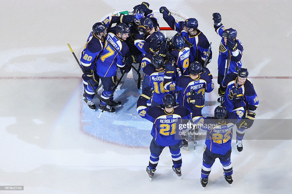 Members of the St. Louis Blues celebrate their victory over the Los Angeles Kings in Game Two of the Western Conference Quarterfinals during the 2013 NHL Stanley Cup Playoffs at the Scottrade Center on May 2, 2013 in St. Louis, Missouri. The Blues beat the Kings 2-1.